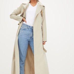 Beige long trench coat